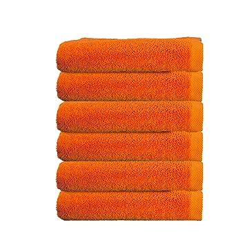 ADP Home - Pack Toallas 550 Grms 6 Piezas (Toalla Tocador) 100% Algodón Peinado Color - Naranja Talla - 30x50 cm: Amazon.es: Hogar