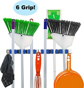 Hooks N Holders 6 Grip Broom and Mop Holder Wall Mounted, Broom Hanger Wall Mount, Garage Tool Holder Wall Mount, Utility Rack, Storage Solutions for Broom Holder Broom Organizer Wall Mount Broom Rack