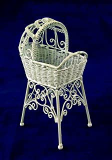 Vanity Fair Dolls House Miniature Nursery Furniture White Wire Wrought Iron  High Cradle Crib