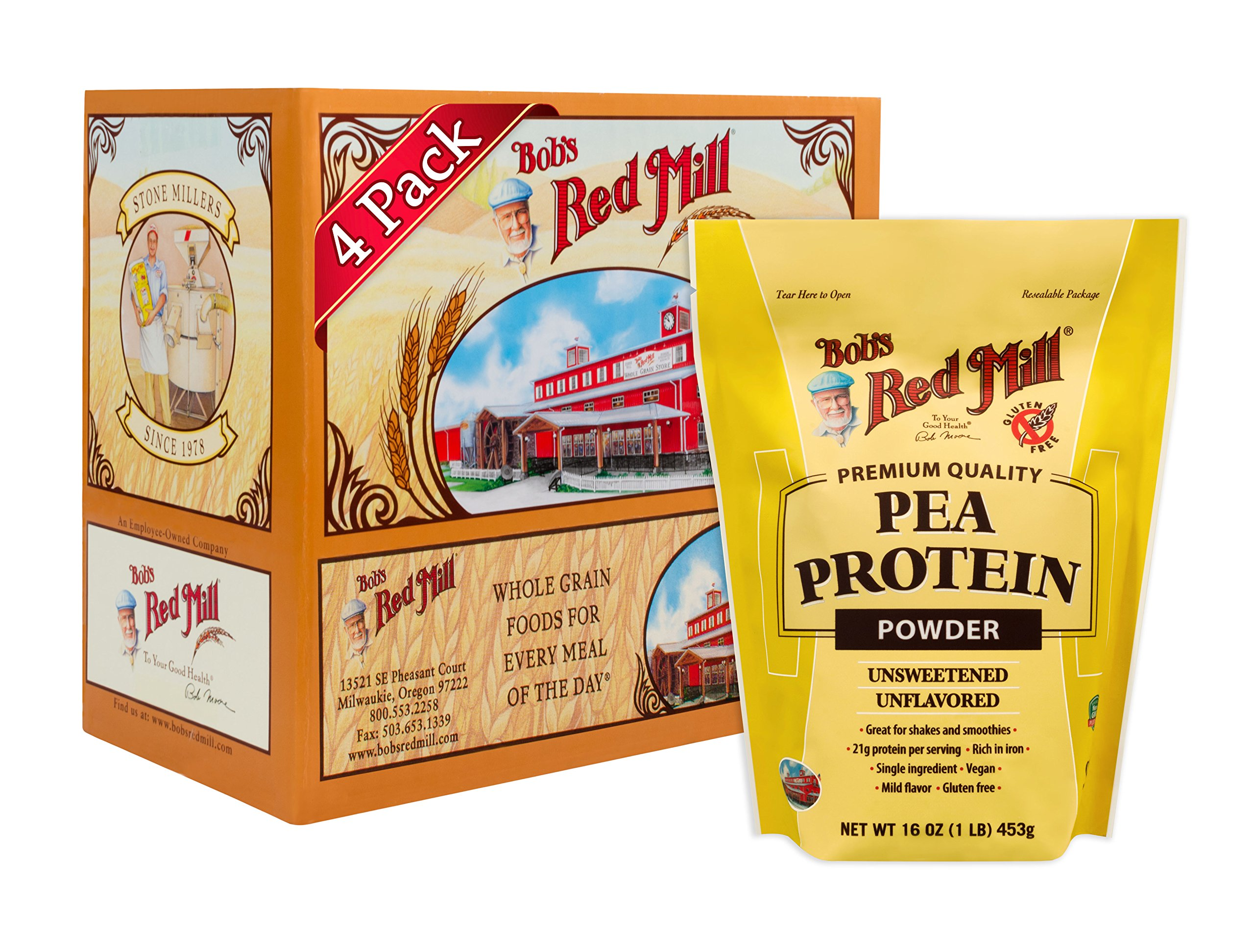 Bob's Red Mill Pea Protein Powder, 16-ounce (Pack of 4)