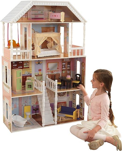 Beau bois massif Enfants Maison De Poupée Poupées Maison Balcon famille Meubles 2 étages