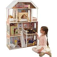 KidKraft 65023 Savannah Puppenhaus aus Holz mit Zubehör für 30cm große Puppen mit 14 Accessoires und 4 Spielebenen