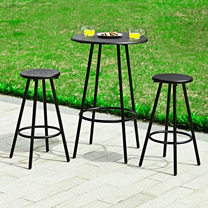 Haotian Bar Set 1 Round Bar Table And 2 Stools, Home Kitchen Outdoor Garden