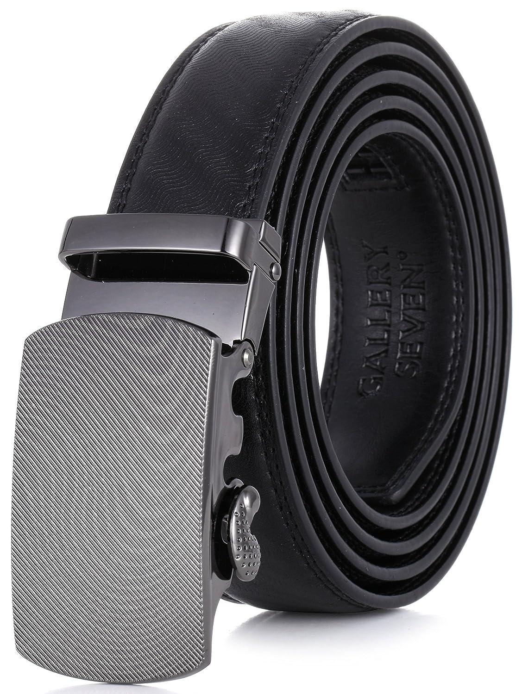 Gallery Seven Mens Leather Ratchet Belt - Adjustable Genuine Leather Dress Belt For Men - Casual Click Belt - In Gift Box