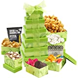 Broadway Basketeers Summer Fun Gift Tower with 6 Gift Boxes Filled With Sweets & Snacks