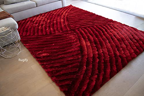 5 x7 Feet Light Red Dark Red Colors Area Rug Carpet Rug 3D Carved Shag Shaggy Furry Large Rectangular Decorative Designer Patterned Modern Contemporary Fuzzy Furry Bedroom Living Room