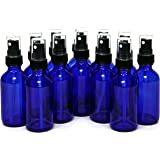 Vivaplex 2 oz Glass Bottles, with Black Fine Mist Sprayers, Cobalt Blue, 12-Count