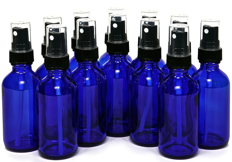 Vivaplex 2 oz Glass Bottles, with Black Fine Mist Sprayers, Cobalt Blue, 12-Count PSC Products VCM2-12