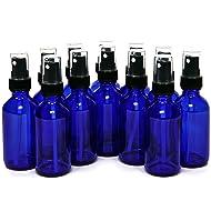 Vivaplex, 12 Glass Bottles with Black Fine Mist Sprayers, 2 oz, Cobalt Blue