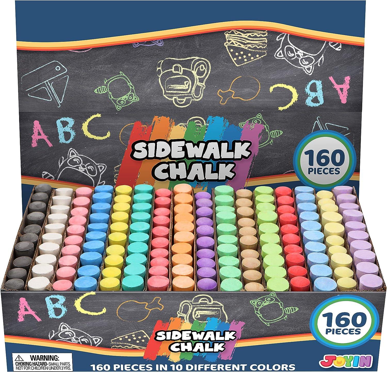 160 PCS Washable Sidewalk Chalks Set Non-Toxic Jumbo Chalk for Outdoor Art Play Painting on Chalkboard Blackboard and Playground