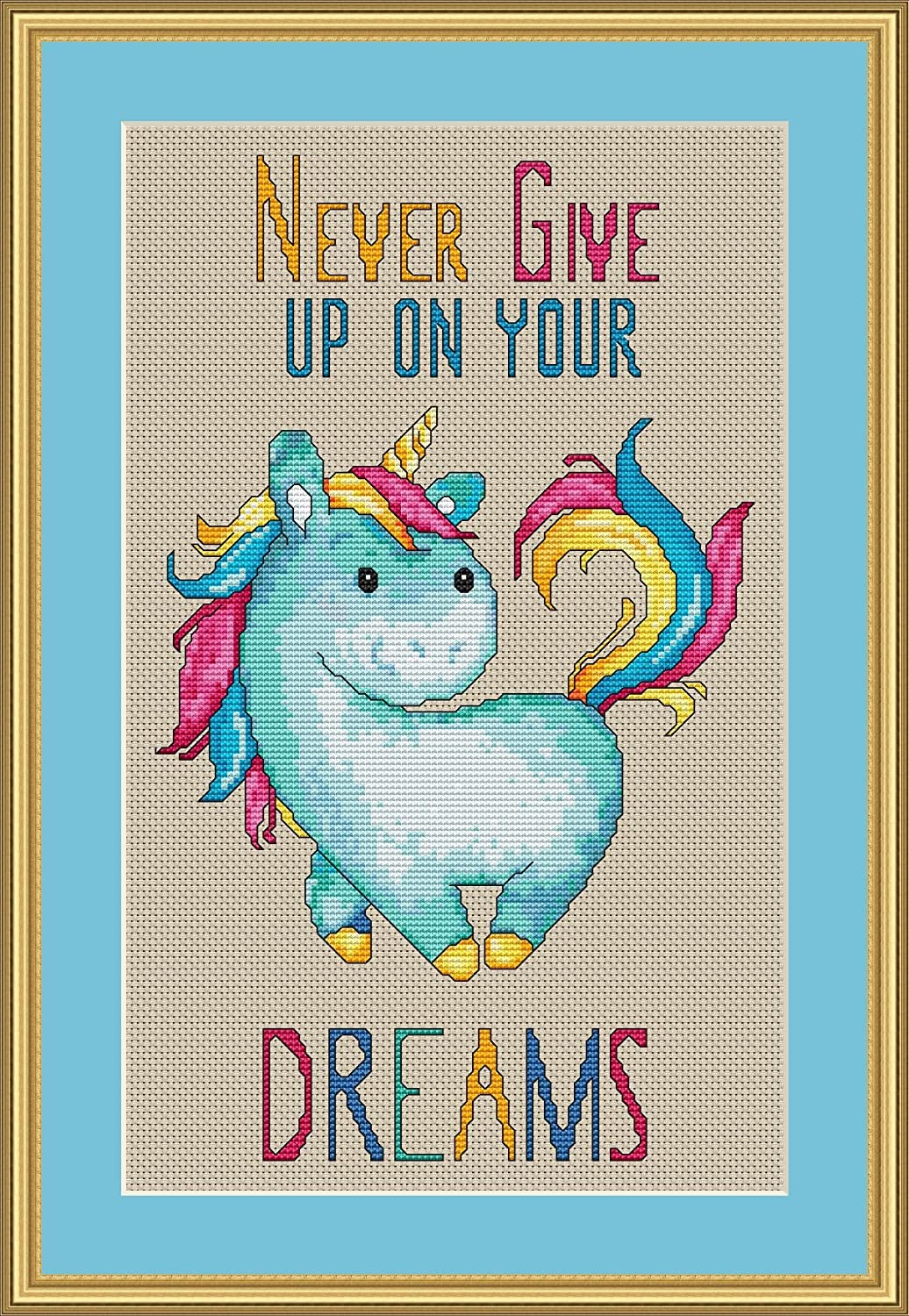 Stitching Tips//Fabric Planning Guide included. Never Give Up on Your Dreams Unicorn Cross Stitch Pattern Not a Kit