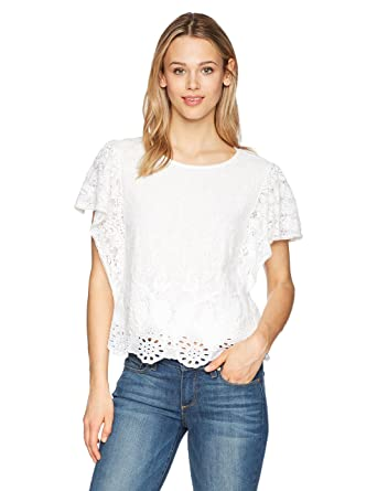 e5bb566c8d Lucky Brand Women's White Eyelet Top at Amazon Women's Clothing store: