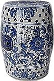 "Oriental Furniture 18"" Floral Blue & White Porcelain Garden Stool"