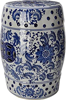Oriental Furniture 18  Floral Blue u0026 White Porcelain Garden Stool & Amazon.com : 18