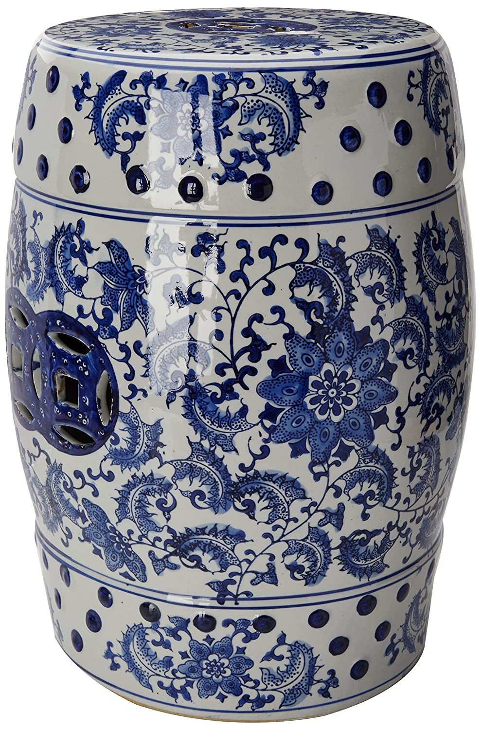 Oriental Furniture 18 Floral Blue White Porcelain Garden Stool Hardware Shop Stools