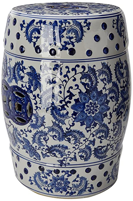 Oriental Furniture 18u0026quot; Floral Blue U0026 White Porcelain Garden Stool