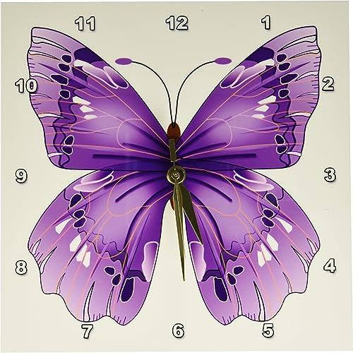3dRose DPP_62044_1 Large Purple Butterfly Wall Clock, 10 by 10-Inch