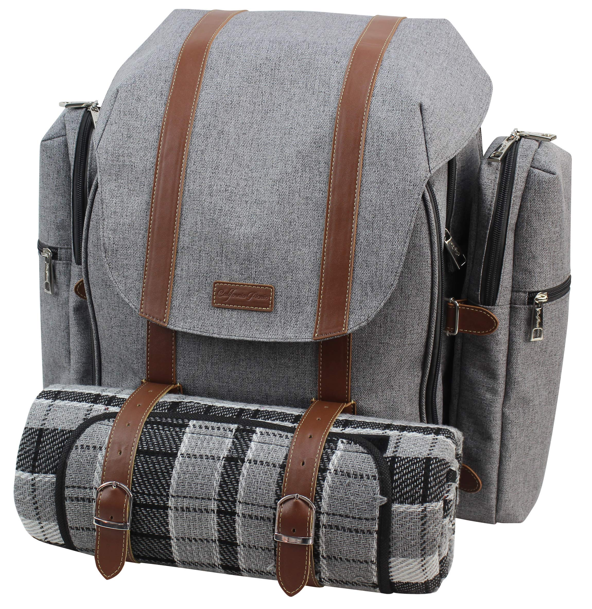 Picnic Backpack for 4 | Picnic Basket | Stylish All-in-One Portable Picnic Bag with Complete Cutlery Set, Stainless Steel S/P Shakers | Waterproof Knitted Picnic Blanket | Cooler Bag for Camping