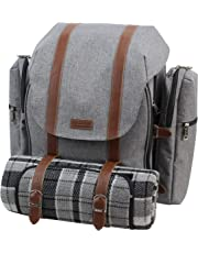 Picnic Backpack for 4   Picnic Basket   Stylish All-in-One Portable Picnic Bag with Complete Cutlery Set, Stainless Steel S/P Shakers   Waterproof Knitted Picnic Blanket   Cooler Bag for Camping