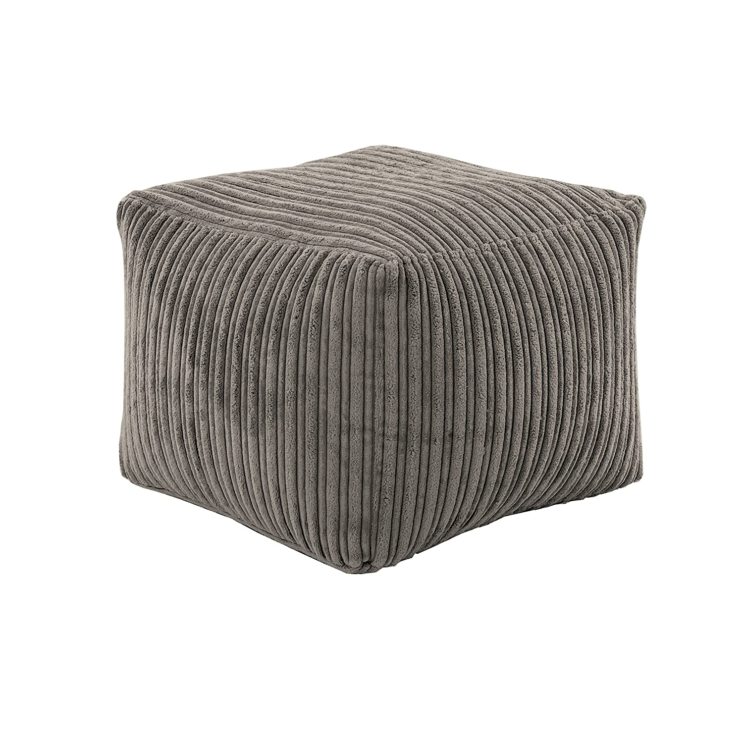 Hippo Charcoal Square Bean Bag Footstool Pouffe Seat in Soft Jumbo Cord Fabric