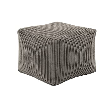 HIPPO Mocha Round Bean Bag Footstool Pouffe Seat in Soft Jumbo Cord Fabric
