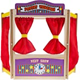 Hey! Play! Wooden Tabletop Puppet Theater with Curtains, Blackboard, and Clock- Inspires Imagination and Creativity for Kids,