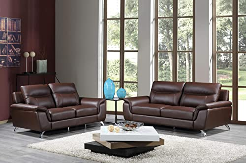 Cortesi Home Chicago Genuine Leather Sofa Loveseat Set, Brown