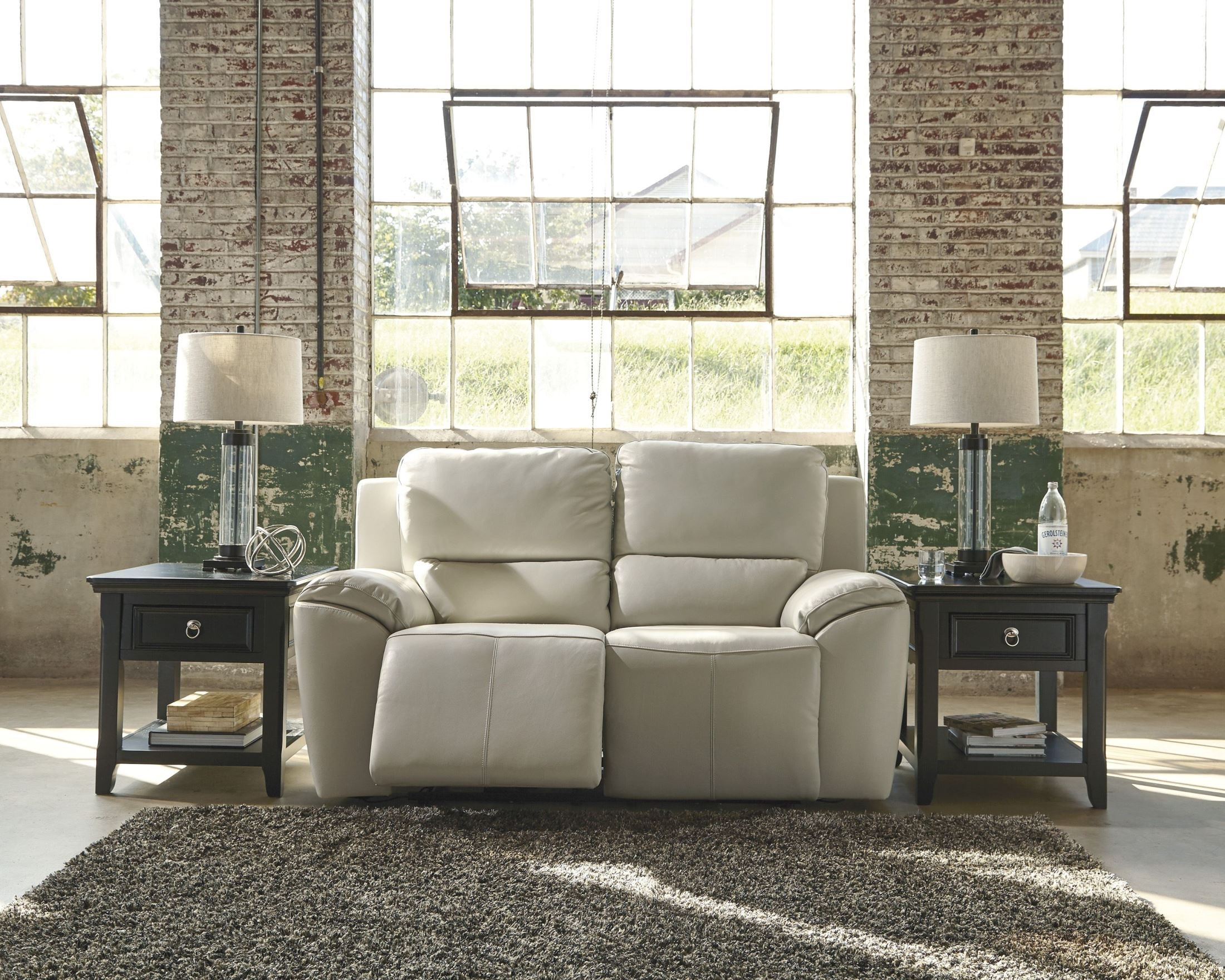 Ashley Valeton U7350074 70'' Leather Match Power Reclining Loveseat with Plush Padded Arms Jumbo Stitching Details and Split Back Cushions in Cream by Ashley Furniture (Image #1)