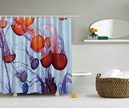 Ambesonne Orange Shower Curtain Sea Animals Contemporary Nautical Abstract Artwork Decor Colorful Jellyfish In The