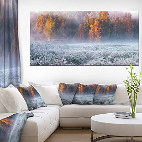 Amazon Com Designart Pt11295 60 28 Grey Hoarfrost Design By Winter Landscape Print Wall Artwork 60x28 1 Piece 28 X 60 X 2 Home Kitchen