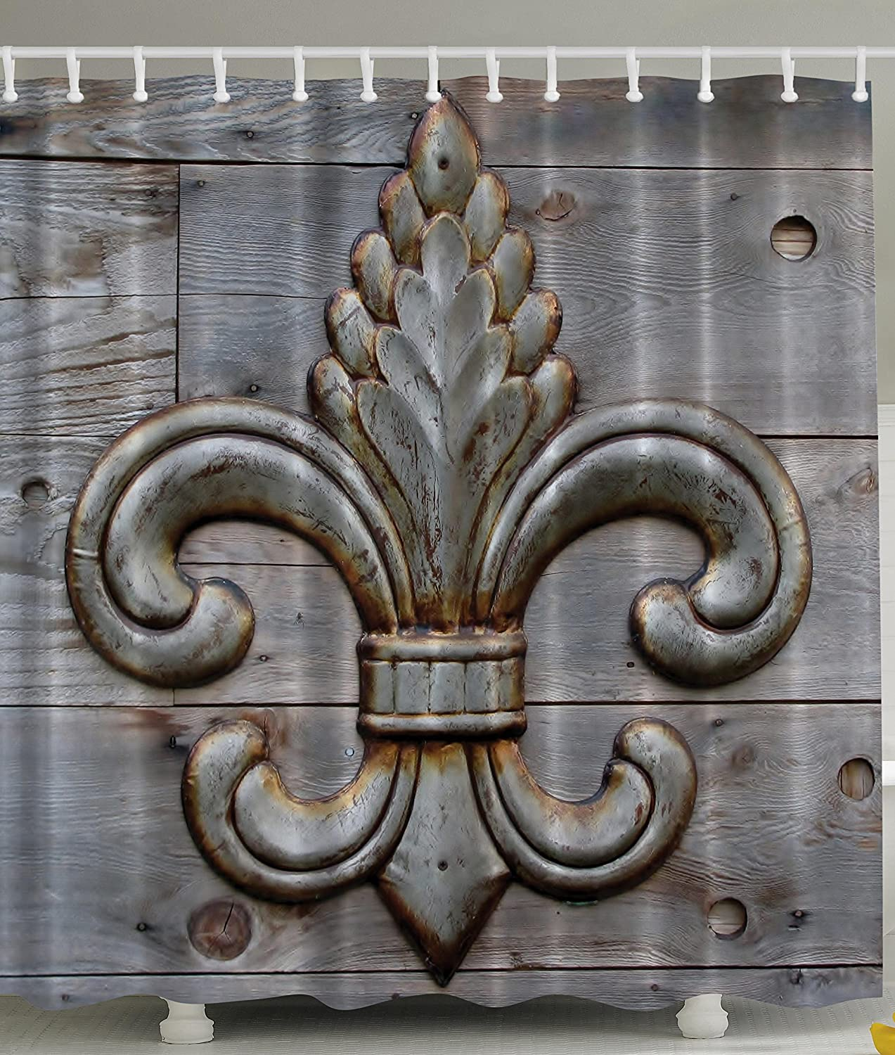 Amazon: Fleur De Lis Shower Curtain Home Antiques Decor By Ambesonne,  Peacock Flower Lily Rusty Antiqued Wood Silver Medieval Door Bell French  Saints
