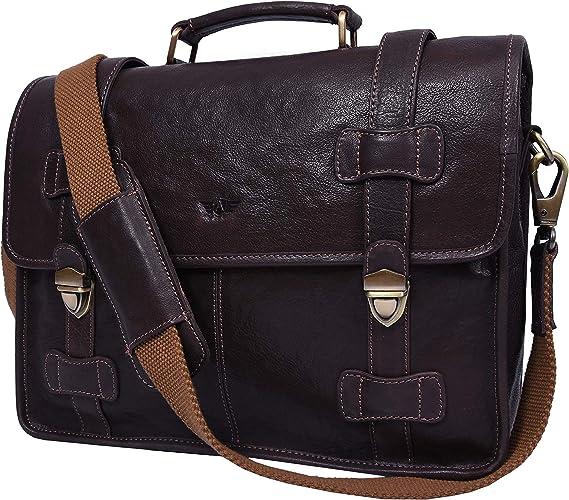 Prime Hide Black Label Soft Black Leather Business Briefcase Bag Mens Womans