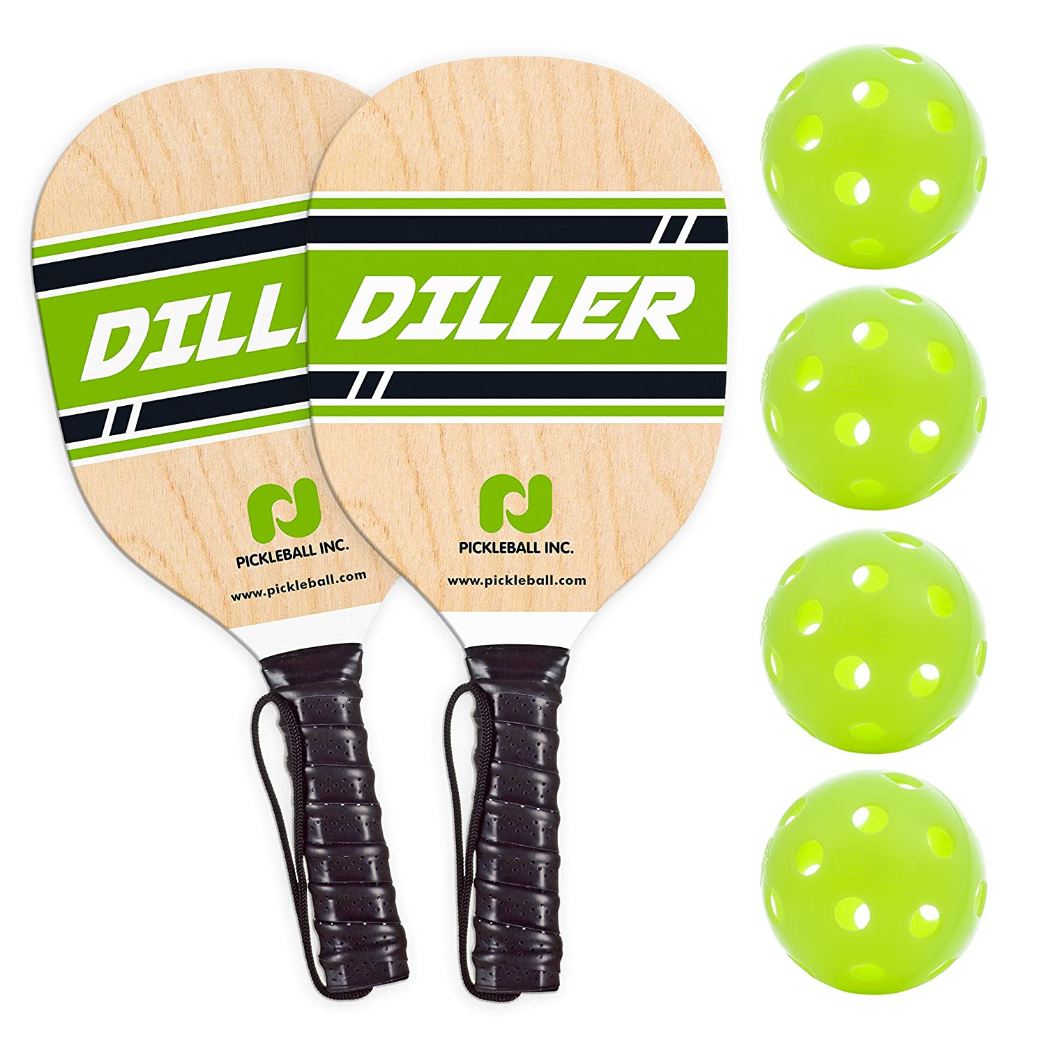 Diller Pickleball Paddle 2 Player Bundle ( Set Includes 2 Paddles & 4 Balls ) Pickle-Ball