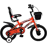 MAD MAXX BIKES Kid's Steel BMX 14T Road Cycle (Neon Red, 14-inch)