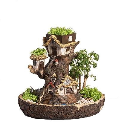 NCYP Forest Fairy Garden Miniature Stump Sweet House Resin Planter For  Succulents Cactus DIY Modern Gardening