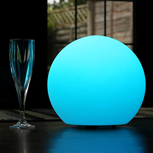 PK Green LED Table Lamp Rechargeable | 30cm Modern Globe Light + Remote |  Colour Changing