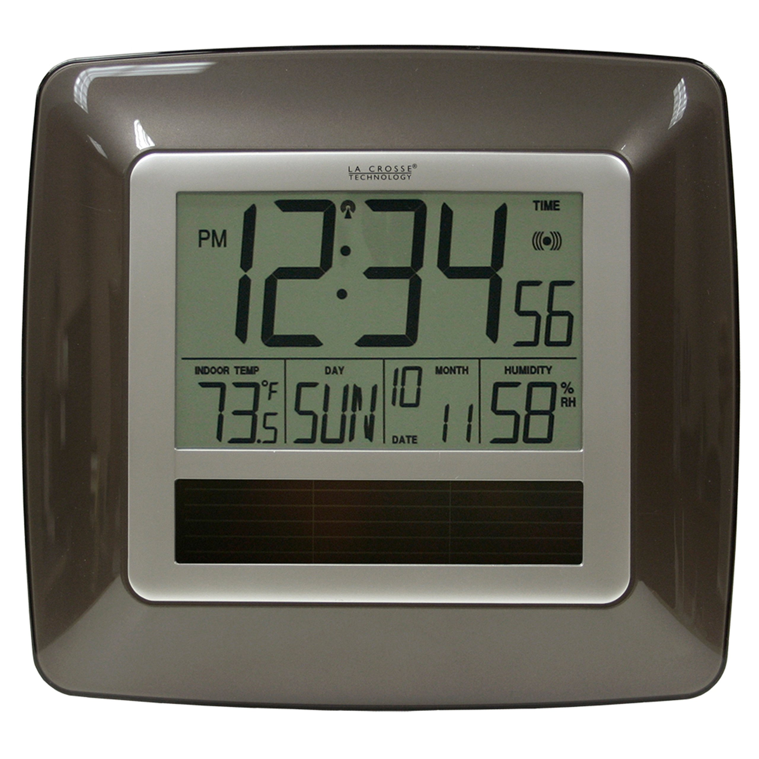 La Crosse Technology WT-8112U Solar Atomic Digital Clock with Indoor Temperature, Humidity
