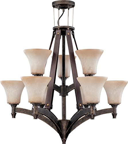 Nuvo 60 1181 2 Tier 9 Light Chandelier with Burnt Sienna Glass, 28 x 27.25
