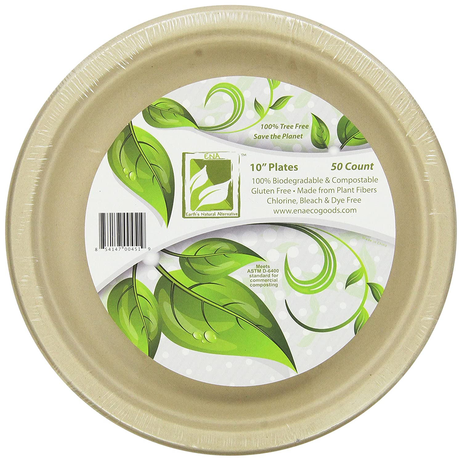 """Earth's Natural Alternative Eco-Friendly, Natural Compostable Plant Fiber 10"""" Plate, Natural, 50 Count"""
