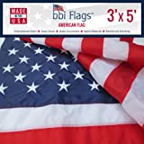 American Flag, 100% Made In USA Flag, Nylon US Flags, Embroidered and Sewn, Indoor/Outdoor, Withstands Tough Weather and Wind - United States Flag with Brass Grommets by BBI Flags (3'x5')