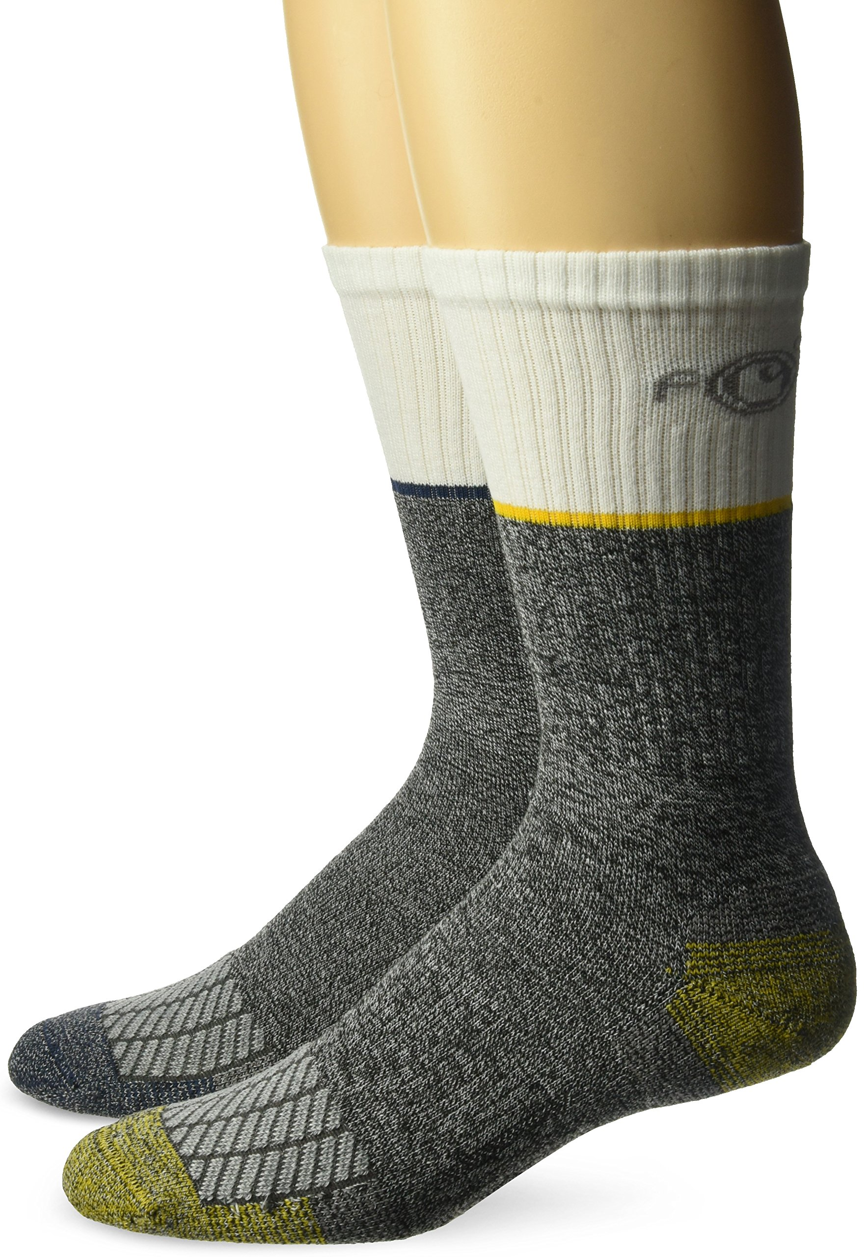 Carhartt Men's Force Performance Steel Toe Crew Socks-2 Pair, White, Grey, Yellow, Blue, Shoe Size: 6-12 (Large)