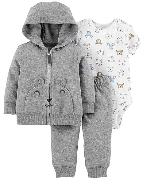 f76543292 Carter's Baby Boys` 3-Piece Little Jacket Set (Newborn, Gray Multi)