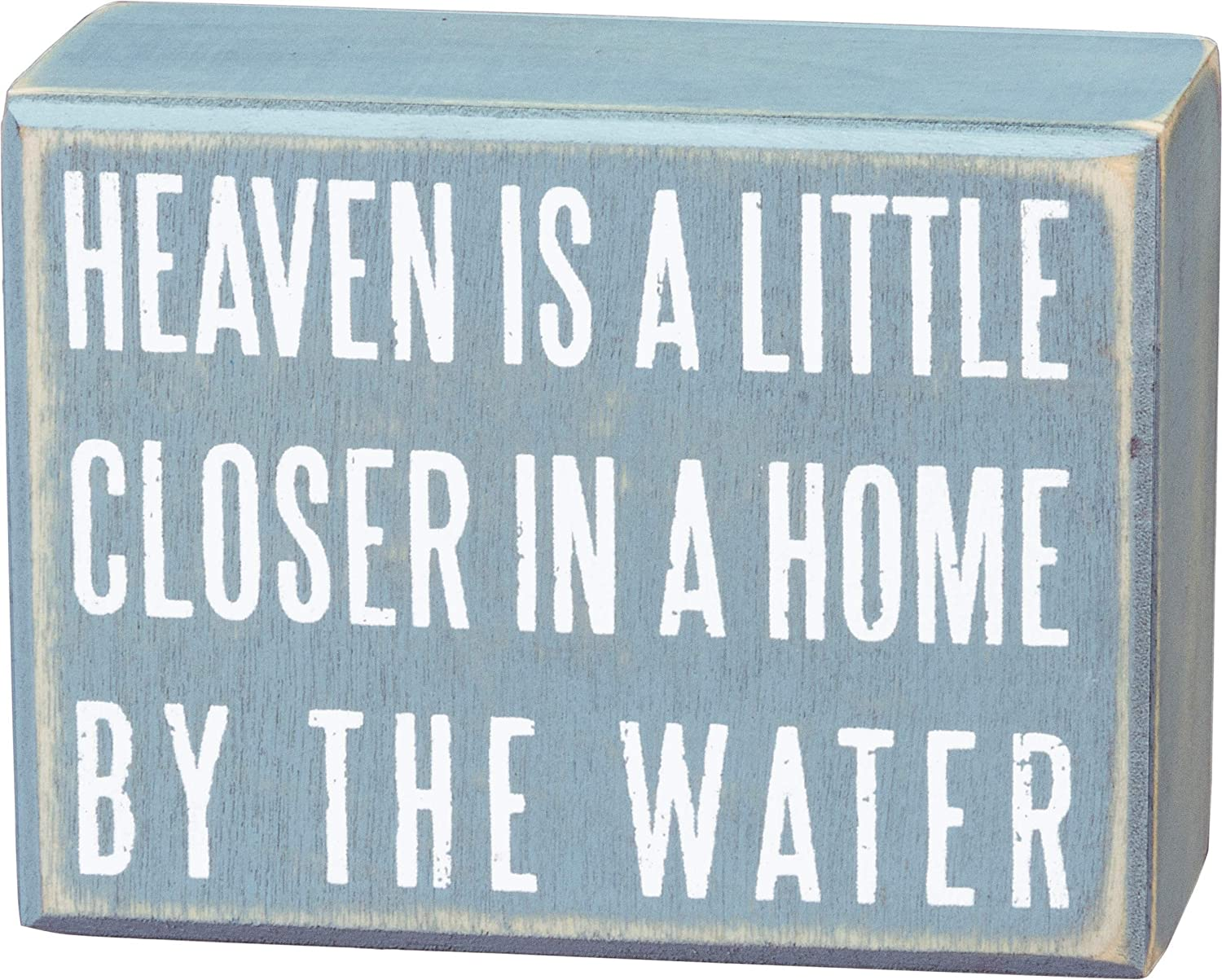 Primitives by Kathy 16354 Distressed Beach-Inspired Small Box Sign, 4 x 3-Inches, Home by The Water