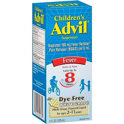 Advil Children's Fever Reducer/Pain Reliever Dye-Free, 100mg Ibuprofen (White Grape Flavor Oral Suspension, 4 fl. oz. Bottle)