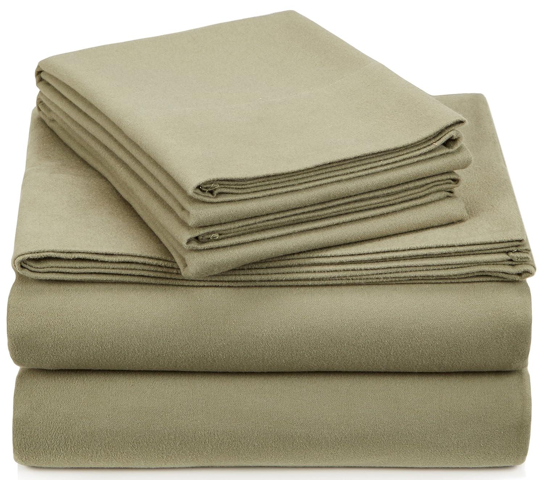 Pinzon Signature Cotton Heavyweight Velvet Flannel Sheet Set - California King, Thyme Green