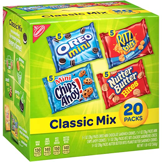 Nabisco Classic Mix Cookies & Crackers Variety Snack Packs, 20 Count Box, 20 Ounce by Nabisco