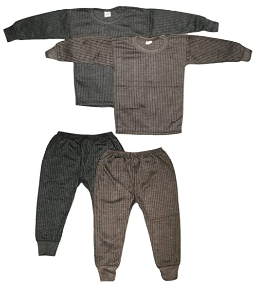 626f59fa346 KIFAYATI BAZAR Kids Unisex Body Warmer Thermal Winter Wear (Top + Bottom)  Multi-