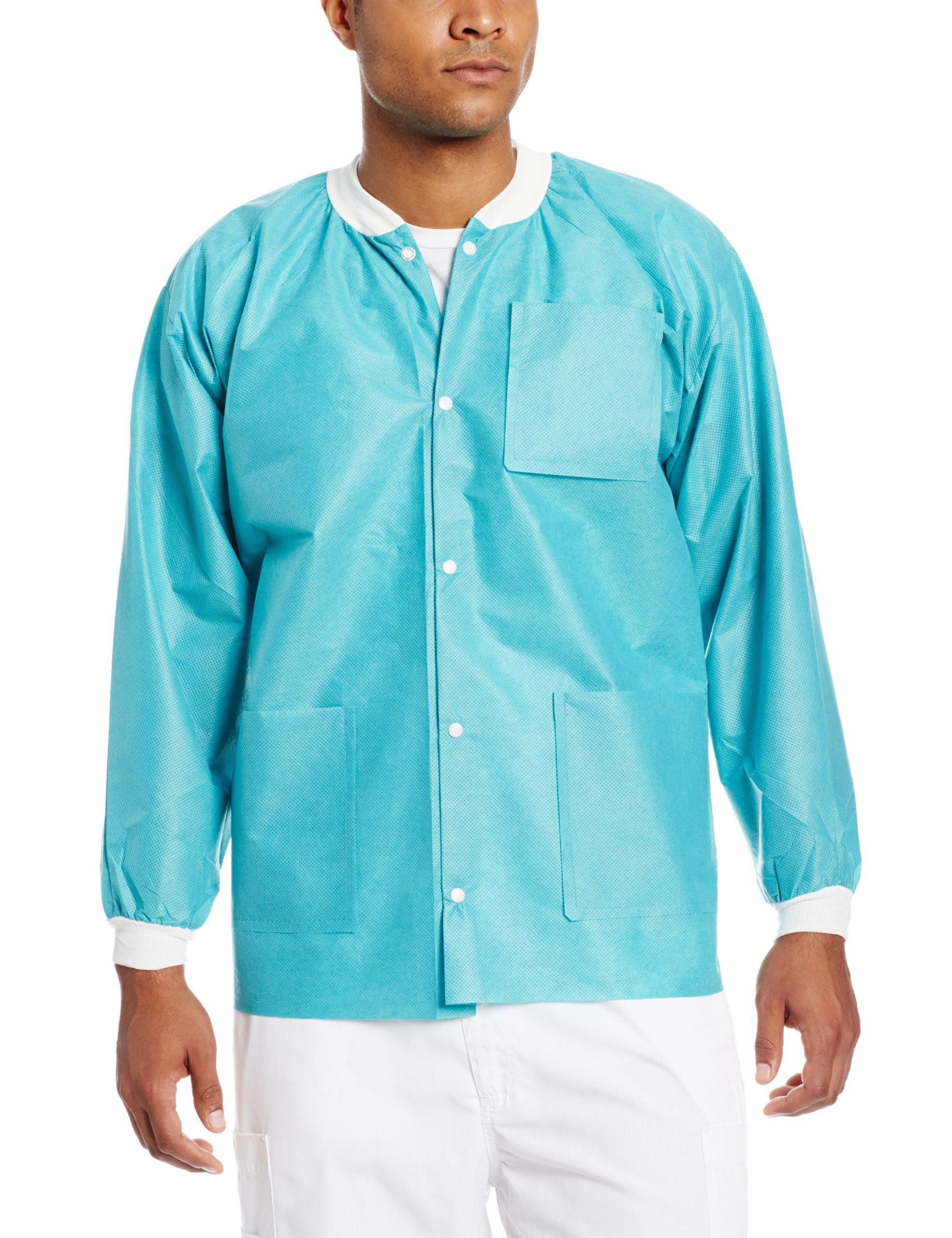 ValuMax 3630TEM Extra-Safe, Wrinkle-Free, Noble Looking Disposable SMS Hip Length Jacket, Teal, M, Pack of 10