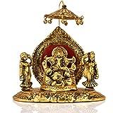 Collectible India Metal Lord Ganesha Riddhi Siddhi Chhatra Statue Hindu God Ganesh Ganpati Sitting Idol Sculpture Good Luck & Success for Home Diwali Gifts Decor(Size: 6 x 6 Inches)
