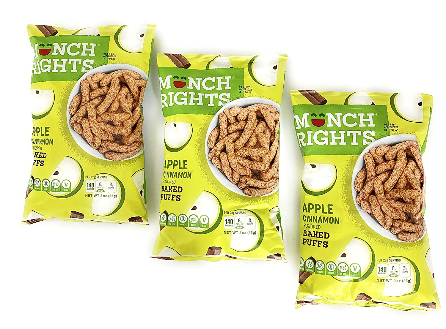 Munch Rights Apple Cinnamon Flavored Baked Puffs Vegan Gluten Free Nut Free Kosher No MSG A Better Snack Is Born 3 Packs x 3 oz Bag